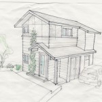 A quick sketch used to evaluate various siding options.
